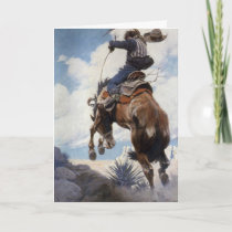 Vintage Cowboy Christmas, Bucking by NC Wyeth Holiday Card