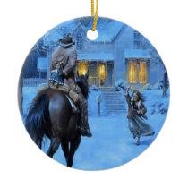 Vintage Cowboy Christmas Ceramic Ornament