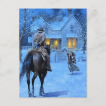Vintage Cowboy Christmas Holiday Postcard
