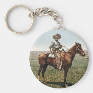 Vintage Cowboy - circa 1904 Basic Round Button Keychain