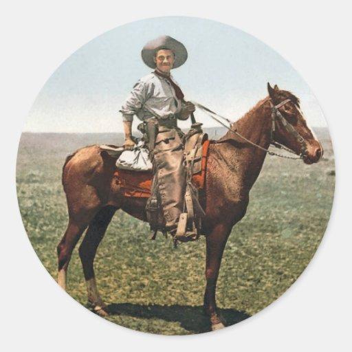 Vintage Cowboy - circa 1904 Round Sticker
