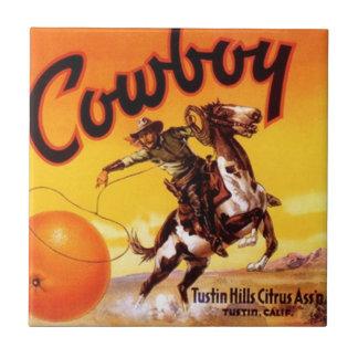 """Vintage Cowboy Citrus Labels Ceramic Tiles 4.25"""""""