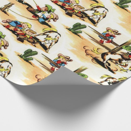 Vintage Cowboy  Cowgirl Gift Wrap Wrapping Paper