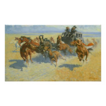 Vintage Cowboy, Downing the Nigh Leader, Remington Poster