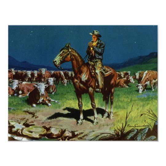 Vintage Cowboy, Farming Cattle Rancher on the Farm Card