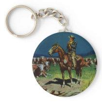 Vintage Cowboy, Farming Cattle Rancher on the Farm Keychain
