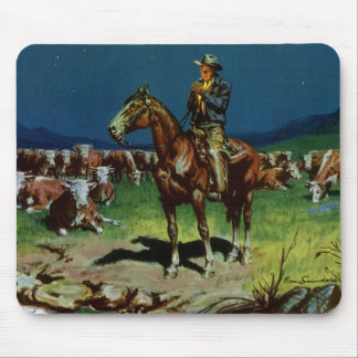 Vintage Cowboy, Farming Cattle Rancher on the Farm Mouse Pad