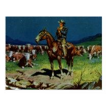 Vintage Cowboy, Farming Cattle Rancher on the Farm Postcard