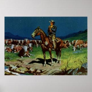 Vintage Cowboy, Farming Cattle Rancher on the Farm Poster