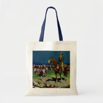 Vintage Cowboy, Farming Cattle Rancher on the Farm Tote Bag