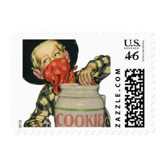 Vintage Cowboy Hand in the Cookie Jar Stamp