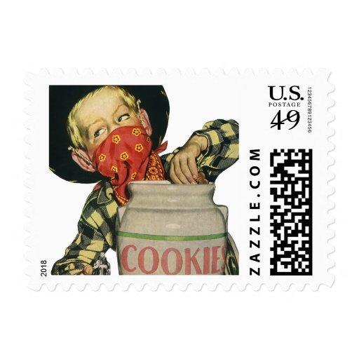 Vintage Cowboy Hand in the Cookie Jar Postage Stamp