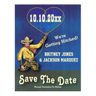Vintage Cowboy Heart Save The Date Postcard