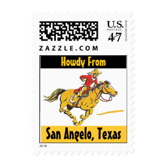 Vintage Cowboy Horse Pony San Angelo Texas Stamps