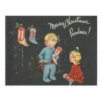 "Vintage ""Cowboy Kids"" Christmas Postcard"