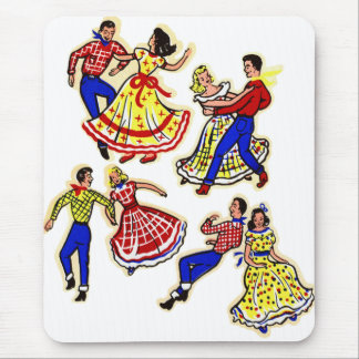 Vintage Cowboy Kitsch Square Dancers 60s Decal Art Mouse Pad