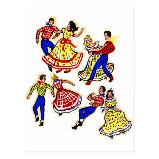 Vintage Cowboy Kitsch Square Dancers 60s Decal Art Postcard