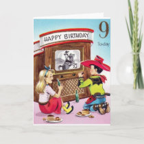 Vintage Cowboy Nine Year Old Birthday Card