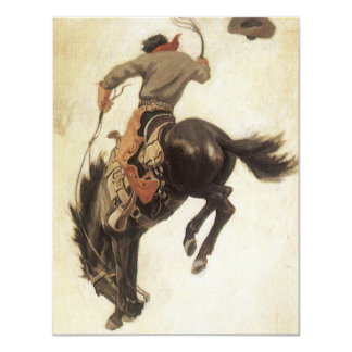Vintage Cowboy on a Bucking Bronco Horse, Western Announcement