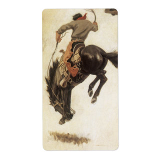 Vintage Cowboy on a Bucking Bronco Horse Western Custom Shipping Labels