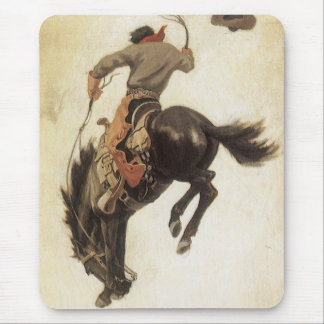 Vintage Cowboy on a Bucking Bronco Horse, Western Mouse Pad