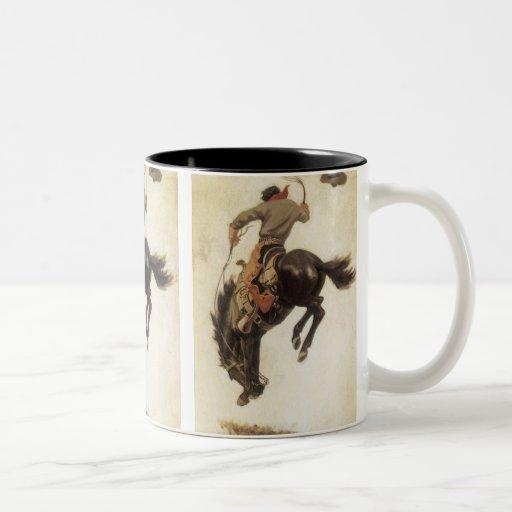 Vintage Cowboy on a Bucking Bronco Horse, Western Coffee Mugs