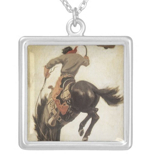 Vintage Cowboy on a Bucking Bronco Horse, Western Personalized Necklace