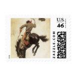 Vintage Cowboy on a Bucking Bronco Horse, Western Postage Stamp