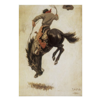 Vintage Cowboy on a Bucking Bronco Horse, Western Posters