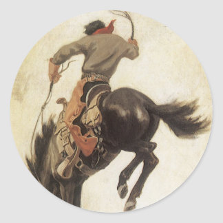 Vintage Cowboy on a Bucking Bronco Horse, Western Round Stickers