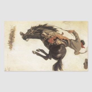 Vintage Cowboy on a Bucking Bronco Horse, Western Rectangle Sticker