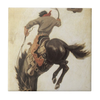 Vintage Cowboy on a Bucking Bronco Horse, Western Tiles