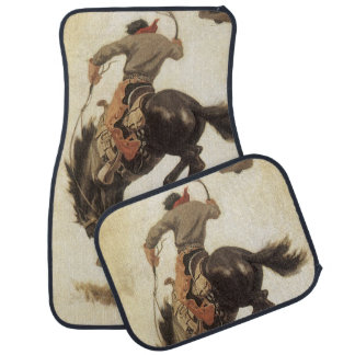 Vintage Cowboy on a Bucking Bronco Horse, Western Car Mat