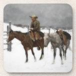 Vintage Cowboy on Horseback at the Ranch Drink Coaster