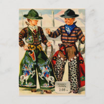 Vintage Cowboy Outfits for Boys Postcard
