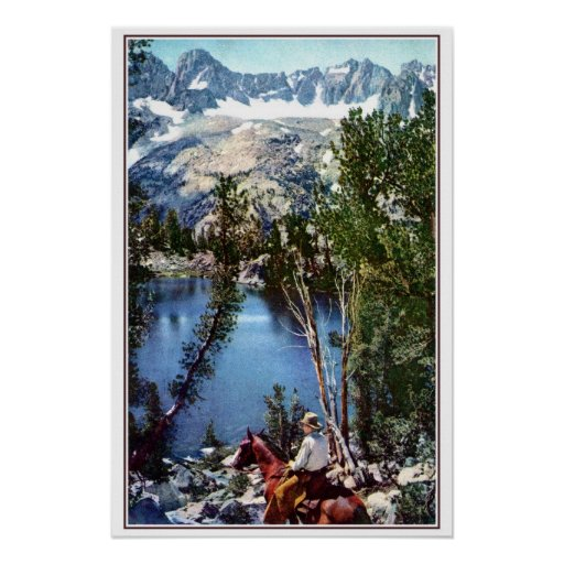 Vintage cowboy overlooking Summit Lake, CAL, photo Poster