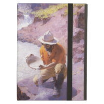Vintage Cowboy, Panning Gold, Wyoming by Leigh Cover For iPad Air