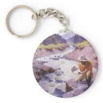 Vintage Cowboy, Panning Gold, Wyoming by Leigh Keychain