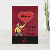Vintage Cowboy Red Romantic Heart Holiday Card