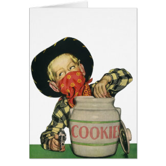 Vintage Cowboy Toy Gun Hand in the Cookie Jar Greeting Cards