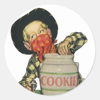 Vintage Cowboy Toy Gun Hand in the Cookie Jar Classic Round Sticker