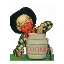 Vintage Cowboy Toy Gun Hand in the Cookie Jar Postcard