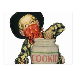 Vintage Cowboy Toy Gun Hand in the Cookie Jar Post Card