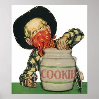 Vintage Cowboy Toy Gun Hand in the Cookie Jar Poster