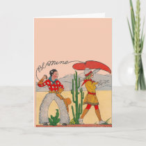 Vintage Cowboy Valentine Holiday Card