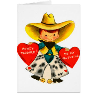 Vintage Cowboy Valentine's Day Greeting Card