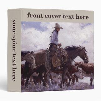 Vintage Cowboy with His Herd of Cattle by Koerner 3 Ring Binders