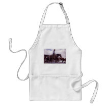 Vintage Cowboy with His Herd of Cattle by Koerner Adult Apron