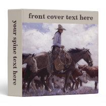 Vintage Cowboy with His Herd of Cattle by Koerner Binder