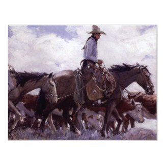 Vintage Cowboy with His Herd of Cattle by Koerner Card